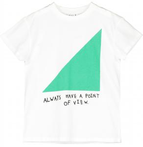T-Shirt bianca con stampe triangolo verde e scritte nere