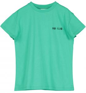 T-Shirt verde con stampa scritte nere