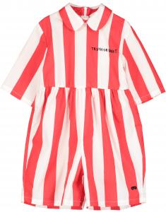 Vestito a righe bianche e rosse con stampa scritta nera