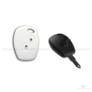 Cover Guscio Colorato Case Materiale Silicone Morbido Per Scocca Chiave Telecomando 2 Tasti Auto Dacia Logan Sandero Duster Express Vari Colori (Bianco)