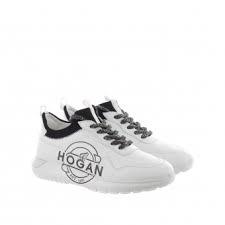 Scarpe bianche con logo e lacci neri