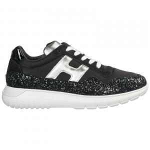 Scarpe nere con logo argento e paillettes