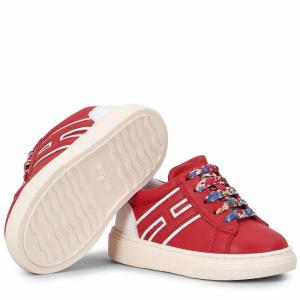 Scarpe rosse con tallone bianco e lacci multicolore