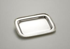 Piattino rettangolare placcato argento Sheffield stile Perles cm.12x8