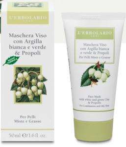Maschera Viso con Argilla bianca e Verde & Propoli per pelli Mille e Grasse 50ml L'erbolario