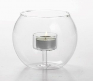 Porta candela tea light in vetro cm.10,5h diam.12