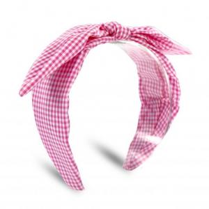 Fascia a quadri rosa e bianchi con fiocco