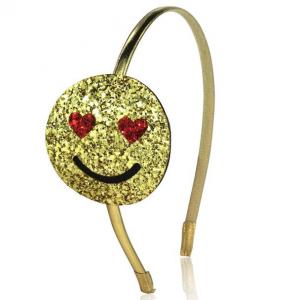 Frontino oro con smile glitter