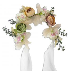 Frontino bianco con fiori multicolore e nastri