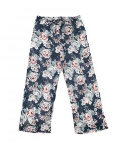 Pantalone blu scuro con stampe fiori rosa e verdi
