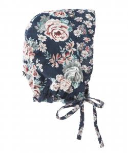 Cuffia blu scura con stampe fiori rosa e verdi