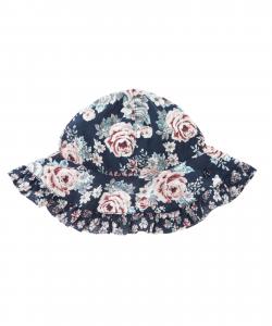 Cappello blu scuro con stampe fiori rosa e verdi
