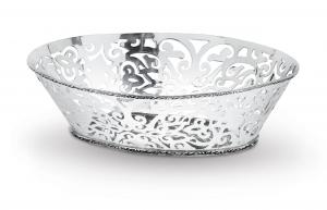 Cestino ovale placcato argento Sheffield stile traforato cm.30x22