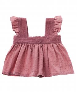 Camicia rosa con spalline volant
