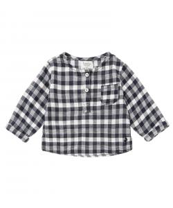 T-Shirt a quadri blu e bianchi