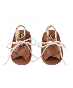 Sandali marroni con lacci beige