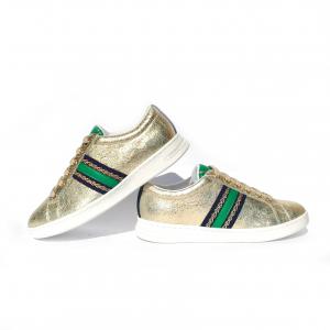 Sneaker oro con dettaglio verde Geox
