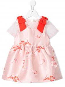 Vestito rosa con fiocchi e stampe fiori rossi