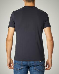 Doppia t-shirt blu in cotone