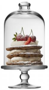 Alzata dolci pasticceria in vetro con campana in vetro cm.23h diam.10