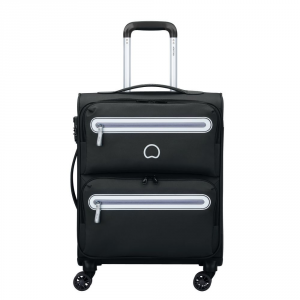 Delsey - Carnot - Valigia trolley da cabina Ryanair 4 doppie ruote slim 55 cm morbido nero cod. 3038803