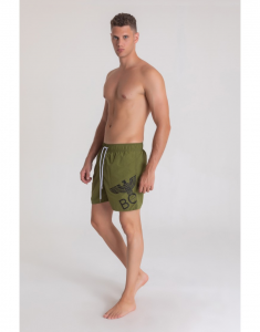 COSTUME BOY LONDON BLA385 VERDE MILITARE STAMPA BIANCA
