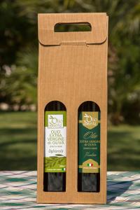 Confezione regalo composta da due bottiglie di olio extravergine pugliese - olio evo Frantoio 0,500ml, Ogliarola 0,500 ml