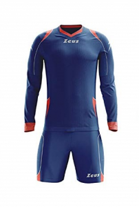 ZEUS KIT GK PAROS GOALKEEPER MARINE/SOLAR RED/SILVER