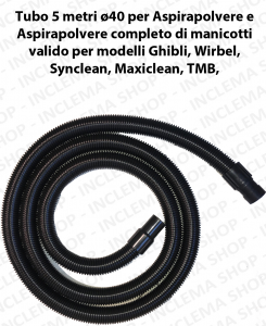 Tubo 5 meters Flessibile con manicotti ø40 for Wet & Dry vacuum cleaner valid for marchi Ghibli, Wirbel, Maxiclean, Synclean, TMB