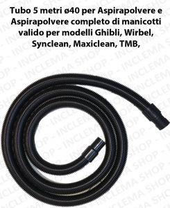 Tubo 5 metri Flessibile con manicotti ø40 para aspiradora e Aspiraliquidi válido para marchi Ghibli, Wirbel, Maxiclean, Synclean, TMB