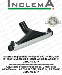 Spazzola registrabile per liquidi ø50 GHIBLI, cod: 6010050 per modelli AS 590 IK CBM, AS 60 IK, AS 600 IK CBM, AS 40 IK