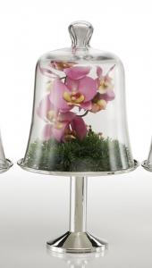 Alzata tonda pasticceria in metallo placcato argento con campana in vetro cm.40h diam.21