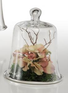 Piatto tondo placcato argento con campana in vetro cm.26h diam.21