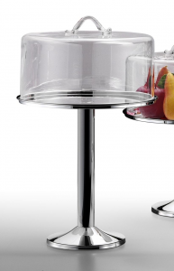 Alzata tonda pasticceria in metallo placcato argento con campana in vetro cm.32h diam.31