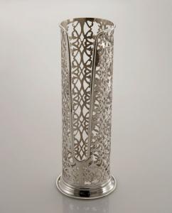 Portabicchieri argentato argento sheffield stile traforato cm.31h diam.9