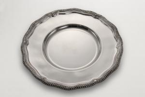 Sottopiatto stile Regina Anna argentato argento sheffield cm.35,5h