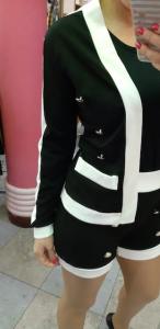 Completo Giacca e Shorts Black&White con bottoni oro