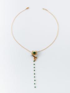 Collana girocollo in ottone galvanizzato fiore pelle