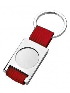 Portachiavi tessuto rosso e metallo cm.9x3,5x0,5h