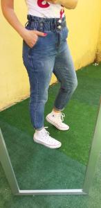 Jeans Vita Alta Jenè con elastico arricciato in vita