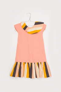 Vestito rosa con bande multicolore