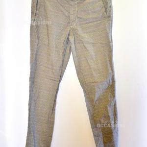 Pantalone Quadretto Dimattia Tg.44 Grigio Uomo