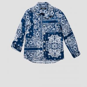 Camicia blu con fantasia bianca