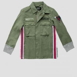 Giubbotto verde militare con toppe e bande multicolore