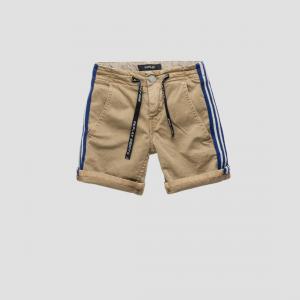 Pantaloncino beige con bande blu e bianche