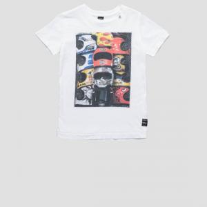T-Shirt bianca con stampa caschi multicolore