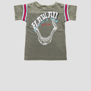 T-Shirt grigia con stampa bianca e bande multicolore
