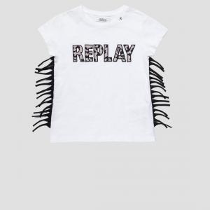 T-Shirt bianca con stampa logo e frange nere