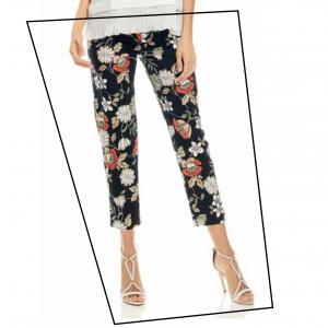 Pantalone nero floreale Evoe