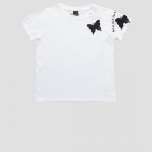 T-Shirt bianca con farfalle e scritta nere
